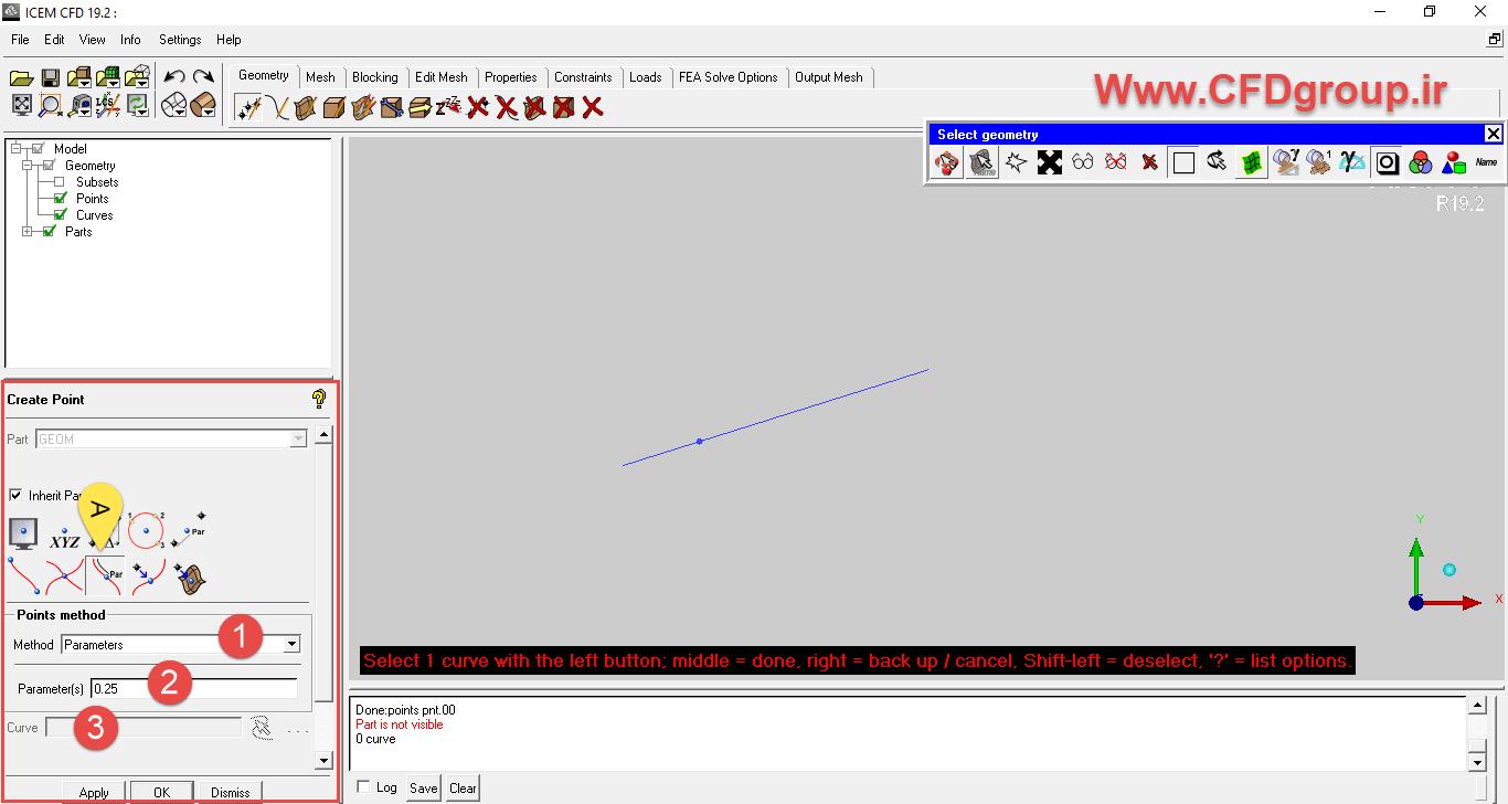 ایجاد نقطه روی یک خط در icem