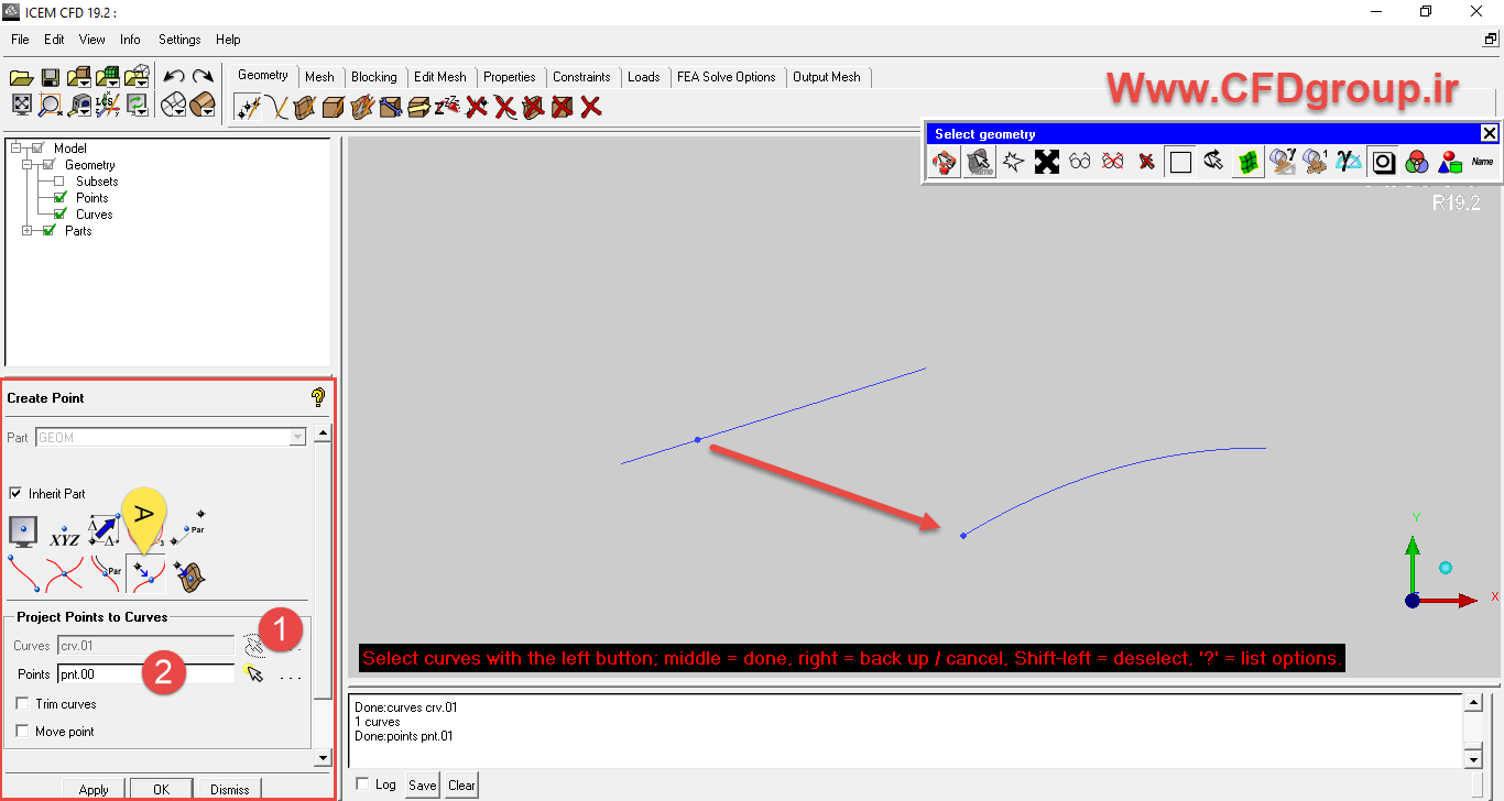 project کردن - تصویر نقطه روی خط در icem