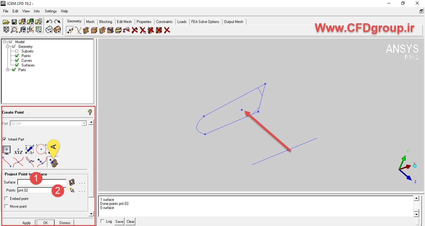 تصویر کردن نقطه روی صفحه در cfd icem